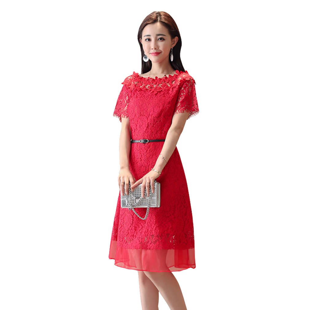 cotyledon Women`s Hollow Out Dresses Boat Neck Short Sleeve Solid Color Dress