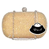 Bagood Women's Rhinestone Crystal Evening Bags Clutches Purses Handbag Shoulder Bag for Wedding Bridal Prom Party Gold
