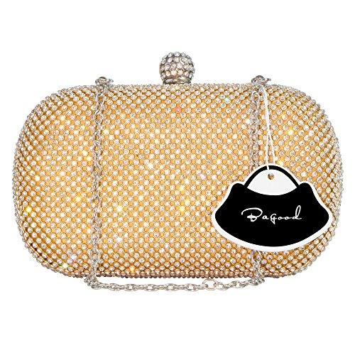 Bagood Women's Rhinestone Crystal Evening Bags Clutches Purses Handbag Shoulder Bag for Wedding Bridal Prom Party Gold by Bagood