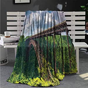 Luoiaax USA Bedding Fleece Blanket Queen Size Canyon Rim Visitor Center Photo Lightweight Life Comfort Blanket W70 x L84 Inch