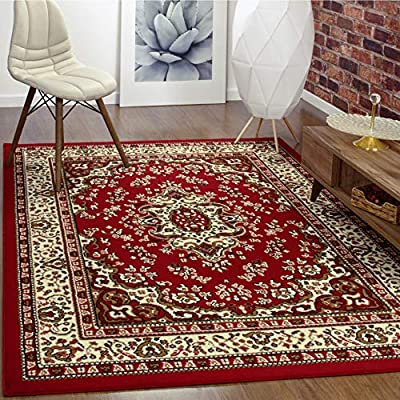 "Antep Rugs Kashan King Collection Himalayas Oriental Polypropylene Indoor Area Rug (Maroon/Beige, 5' x 7') - FASHIONABLE FLOOR RUG: This versatile area rug features a stylish color scheme and a bold, eye-catching pattern that will effortlessly complement any décor. DO NOT remove the label on the back of the rug, removing may damage the rug permanently. VERSATILE GOOD LOOKS: Add a fashionable complement to a living room, dining room or bedroom with this versatile indoor area rug. With its classic color scheme and practical size, this area rug makes an attractive addition to any décor. DURABLE COMFORT: Machine-made from stain-resistant and stylish 100% Polypropylene, this durable area rug is designed for comfort and style. With a pile height of 0.3"", this floor rug offers cushioned comfort without being too bulky. - living-room-soft-furnishings, living-room, area-rugs - 61G0AKCwTHL. SS400  -"