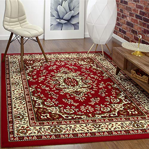 Antep Rugs Kashan King Collection Himalayas Oriental Polypropylene Indoor Area Rug (Maroon/Beige, 5