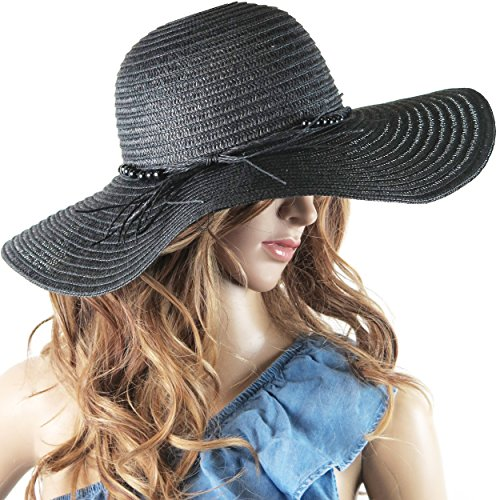 Debra Weitzner Beach Straw Floppy Hat for Women Wide Brim - Sun Protection - Packable Foldable Summer Sun hat for Ladies - ()