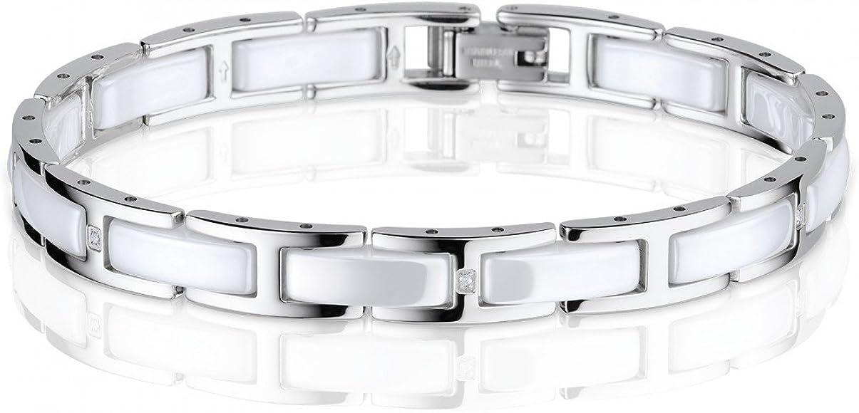 Elegantes Armband Keramik Edelstahl weiß Ceramic