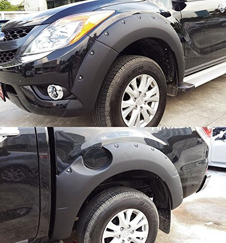 Mazda Bt50 Bt-50 Pro 12 13 14 Matte Black Workmate Fender Flare Flares Wheel Arch Arches 7 Inch Jumbo NUT Style SET