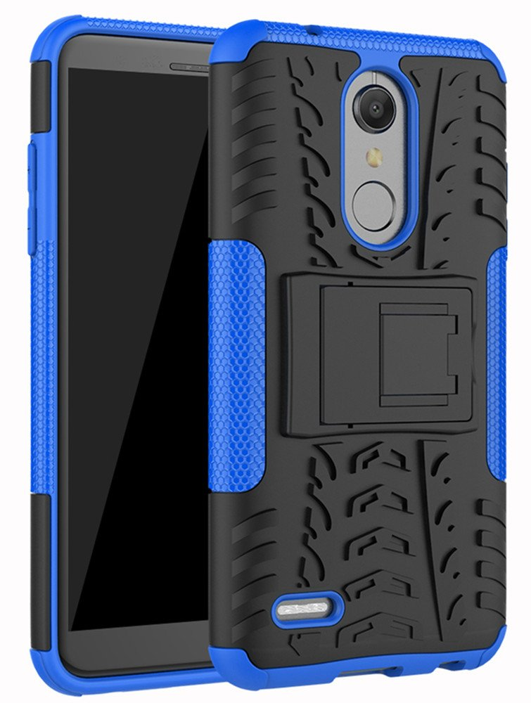 LG K30 Case, LG Phoenix Plus Case,LG Premier Pro LTE Case,LG K10 Alpha,LG K10 2018 Case, Yiakeng Dual Layer Shockproof Wallet Slim Protective with Kickstand Hard Phone Cover (Blue)