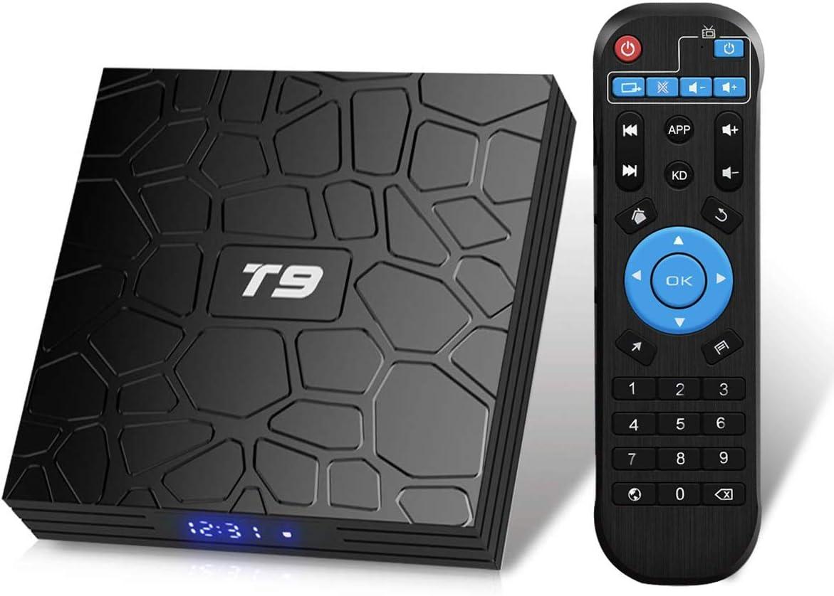 Android TV Box 9.0,2019 T9 Android Box 4GB RAM 32GB ROM RK3318 Quad Core/2.4GHz/5.0Ghz wifi/64 bits / BT4.0 / H.265 / 3D UHD 4K Smart TV Box