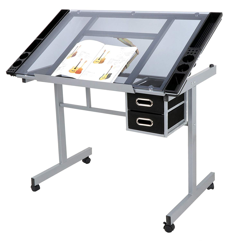 HomGarden Adjustable Drafting Drawing Table Desk Tempered Rolling Glass Top Art Craft Station Desk w/2 Slide Drawers and Castors by HomGarden (Image #5)