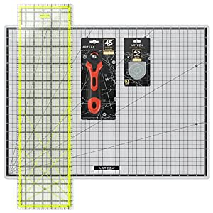 """Arteza Rotary Cutter Quilting Kit, Set of 4 (6.5X24"""" Ruler, 18X24"""" Mat, 45mm Cutter, 45mm Blades 3 pack )"""