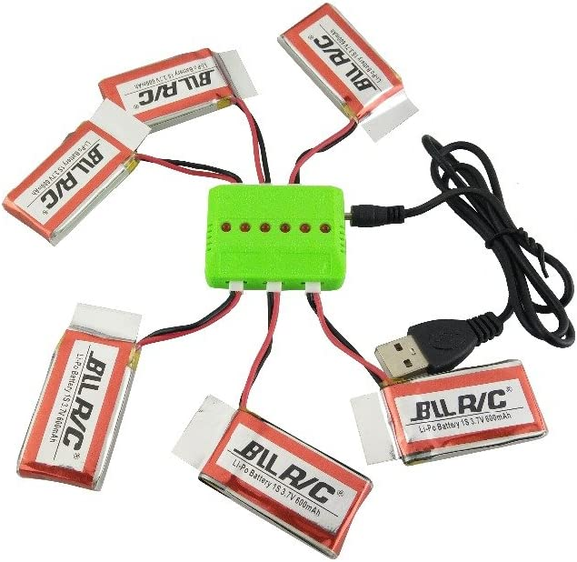 Fytoo 6pcs New 25C 3.7V 600mAh Upgraded Lipo Battery and 6 in1 charger for Syma X5C X5 X5SC X5SW X5S SS40 FQ36 T32 T5W H42 RC Quadcopter Drone Spare Parts