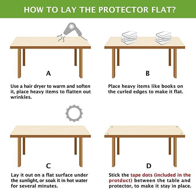 Sweetichic Furniture Protective Film Transparent Table Protector Kitchen Dining Room Wood Furniture Cover Clear Wipeable Easy to Clean Wooden Desk Protective Pad PVC Coffee Side Tabletop Protection