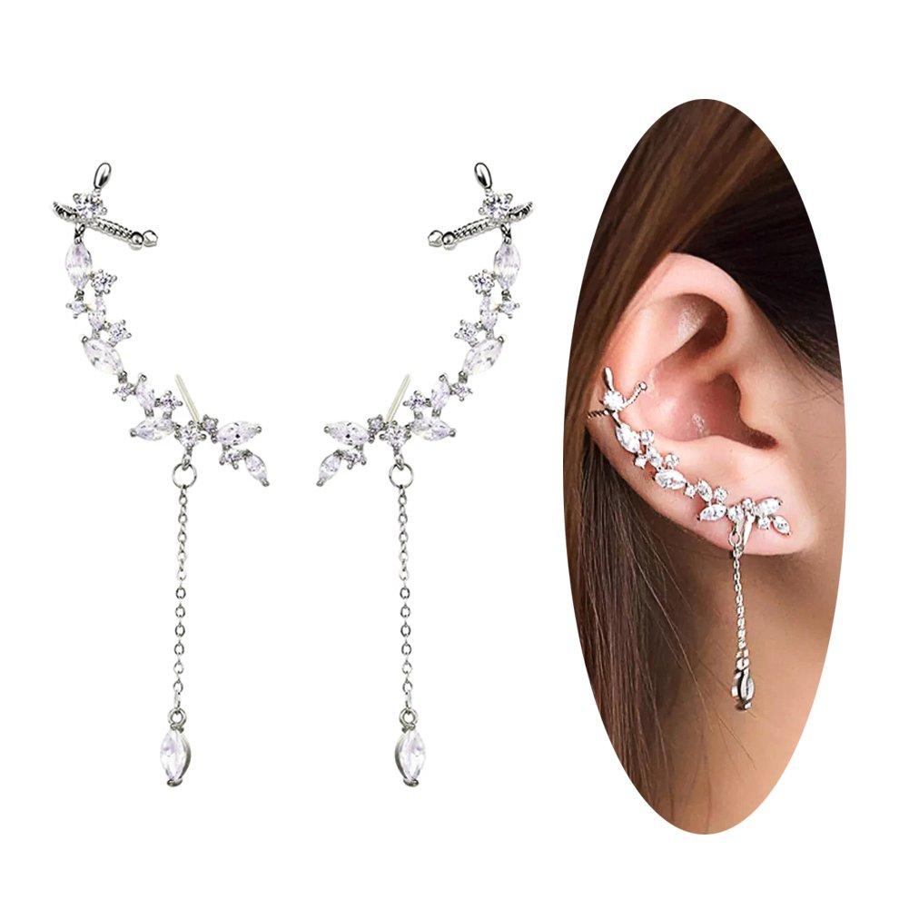 Ear Crawler Earrings Ear Climber Cuff Ear Wrap Clip Leaf Earrings for Women