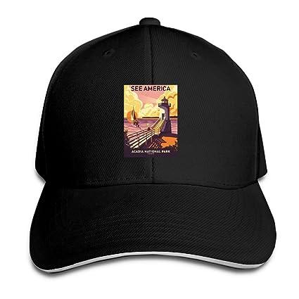 Amazon.com   GYUAQ Travel Poster Acadia National Park Unisex Baseball Caps  Vintage Trucker Caps Golf Hats   Sports   Outdoors 88116f4839b2