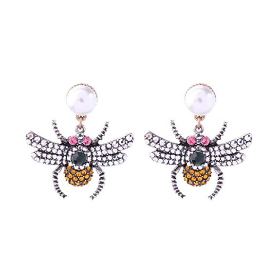 Spenbroke Un par de Bellos Pendientes de Perlas,Abejas de Cristal ...