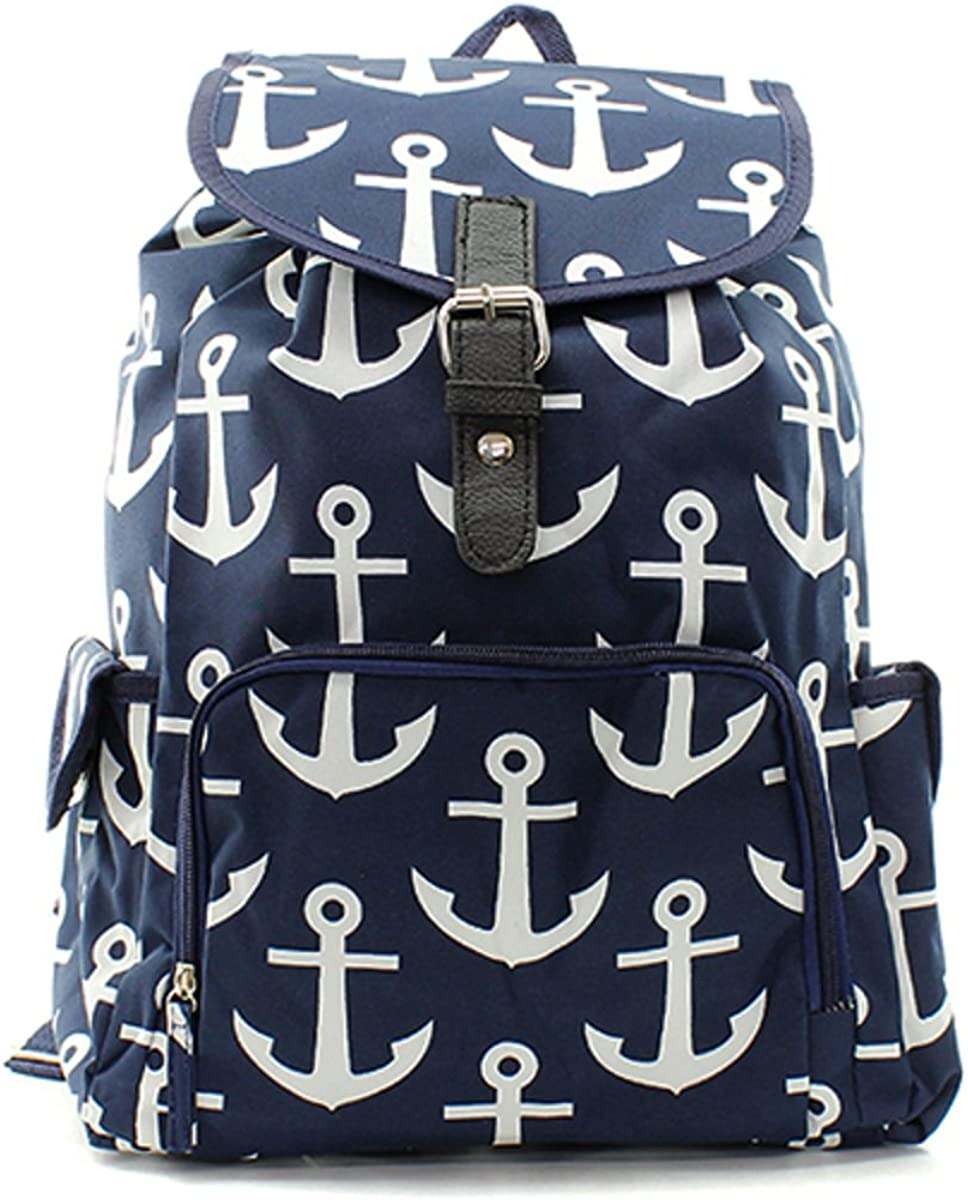Leather Navy Blue Anchor White 2 Backpack Daypack Elegant Ladies Travel Bag Women Men