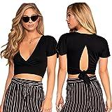OUMAL Crop Tops for Women Teen Girls Juniors Cute Black V Neck Crop Shirts Tops