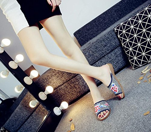 GuiXinWeiHeng xiuhuaxie Peony chaussures brod¨¦es, tendon unique, style ethnique, flip flop f¨¦minin, mode, confortable, sandales, beige, 38