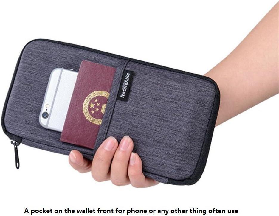 Big Mango RFID Blocking Neck Travel Wallet Family Passport Wallet Holder Travel Organizer Clutch for Credit Cards,Money,Ticket,Smartphone for Women/&Men Waterproof Blue