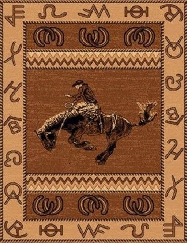 2 X 3 Country Theme Western Cowboy On Bucking Horse Rodeo Tan Brown Mat Rug by Persian Rugs