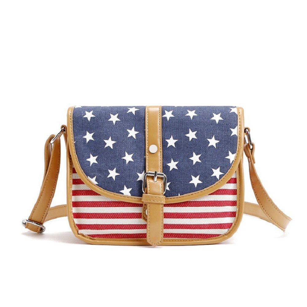 US Flag Flap Canvas Messenger Bag Vintage Leather Binding crossbody Shoulder bag