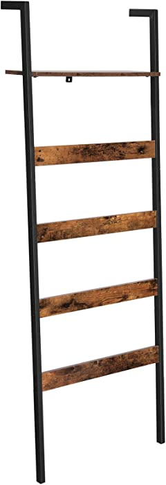 VASAGLE ALINRU Blanket Ladder Shelf, Wall-Leaning Rack with Storage Shelf, Steel Frame, for Blankets, Scarves, Industrial Style, Rustic Brown and Black ULLS012B01
