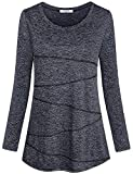 Becanbe Yoga Clothes for Women,Ladies Active Tops Summer Running Fast Dry Modest Round Neck Long Sleeve Sport Soft Chic Basic Simple Essential Roomy Loose Fit Gym Exercise Tunic(Black Grey,X-Large)