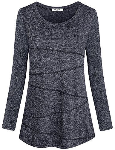 Becanbe Ladies Gym Clothes,Womens Casual Long Sleeve Performance Tops Round Neck Ventilation Good Bounce Fishing Shirts Utility Cute Beautiful Mountain Bike Boutique Clothing(Black Grey,XX-Large) ()