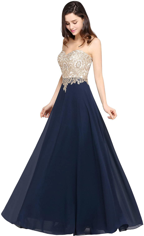 MisShow Damen Elegant Chiffon A-Linie Ballkleid Abendkleider  Brautjungfernkleider Applique Abschlusskleid Lang
