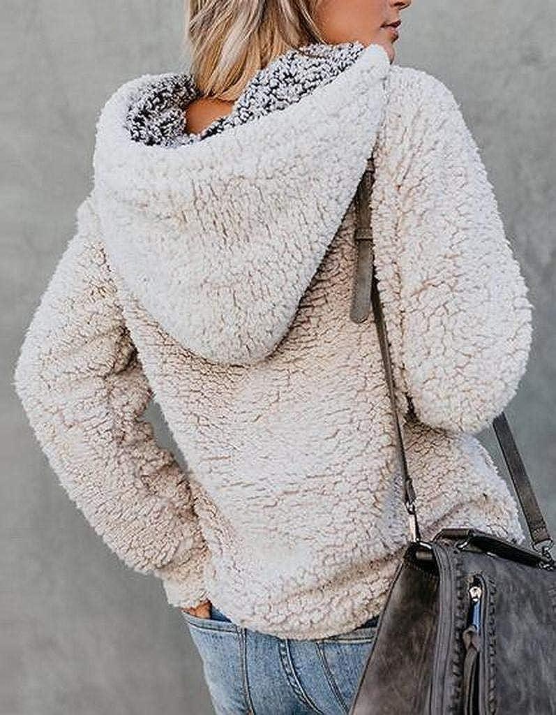 ARTFFEL Womens Sherpa Pocket Plus Size Hooded Winter Pullover Sweatshirt Coat