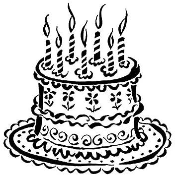 Amazon.com: Tarta de cumpleaños Wood Mounted sello de goma ...