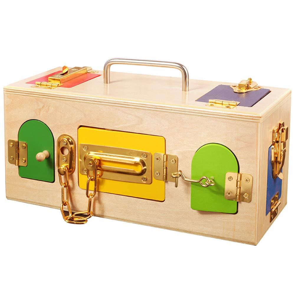 Juguetes de desarrollo de aprendizaje temprano par Juguetes educativos Kindergarten / desbloqueo de bloqueo área de la vida diaria especial Casos de SIDA Treasure Box Portable Teasers de cerebro de ju