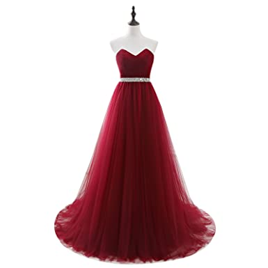 CEZOM Burgundy V Neck Formal Corset Prom Evening Dresses Celebrity ...