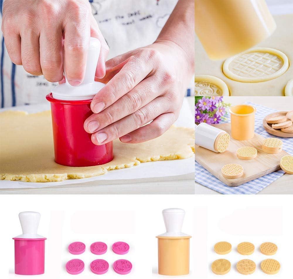cortador de plantillas fondant molde de silicona para /árbol de Navidad pasteler/ía Molde para galletas prensado de manos molde para hornear pasteles 6 piezas//set de sellos 3D de dibujos animados