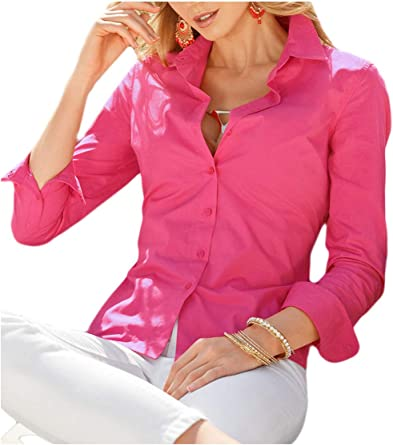 Mujer Formal Blusas Sólidas Camisa De Manga Larga Dama De Corte Slim Rosa XS: Amazon.es: Ropa y accesorios