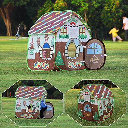 Homfu Play Tent for Kids for Indoor Outdoor Playhouse Boys Girls Child Gift Gingerbread House -
