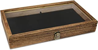 product image for Flag Connections Wooden Jewelry Display case with Tempered Glass Top Lid, Brown Color