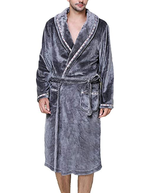 Albornoz Unisex Otoño Invierno Hombre Coral Fleece Mujer Batas Fashion Elegantes Vintage Cómodo Kimono Manga Larga V-Cuello con Bolsillos Cinturón Pijamas ...