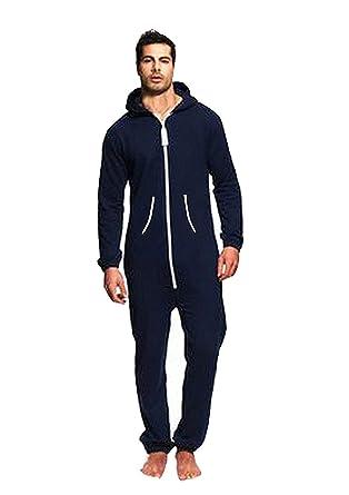 b6fb8c2ec Juicy Trendz Men's One Zip Onesie Hoodie Jumpsuit Playsuit All in One Piece  Navy Small