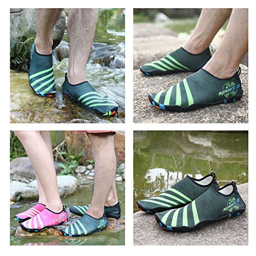 with verde Socks Lxso Shoes Skin Shoes Lightweight Water Men Quick Drainage Multifunctional Aqua 3 Women Dry Holes w1xtq71aT