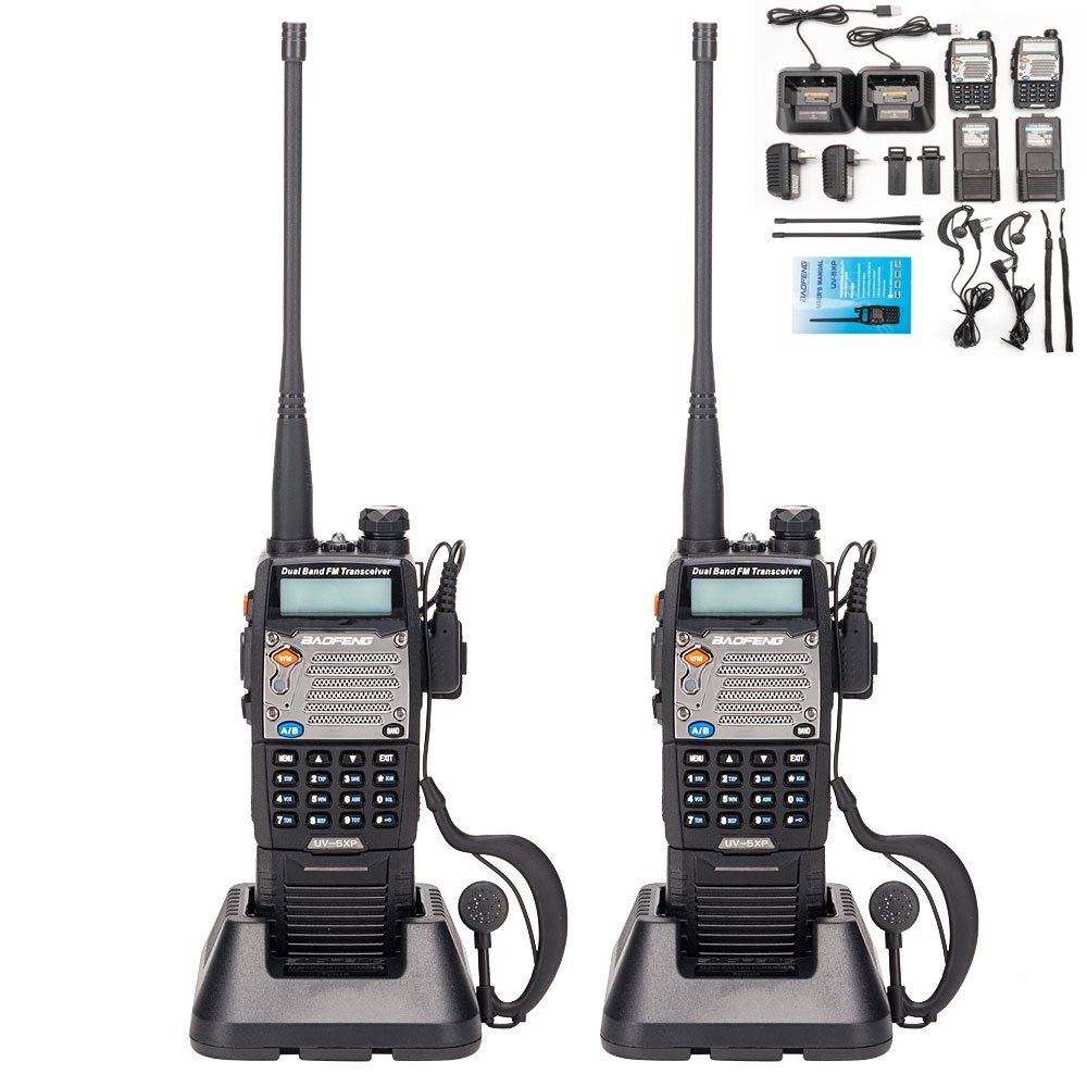 BaoFeng UV-5R Upgrade Version UV-5XP Extended Battery VHF UHF Two Way Radio 7.4v 8W Dual-Band Walkie Talkie 2 Pack by BAOFENG