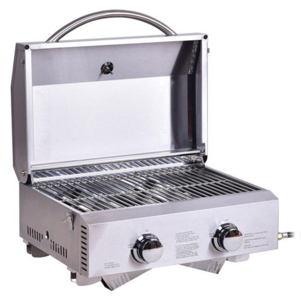 Amazon.com: Propano parrilla de Gas 2 quemadores portátil ...