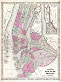 vintage nyc map - Buyartforless 1866 Map of NYC And Brooklyn 24x18 Art Print Posters Vintage Map New York City MADE IN THE USA
