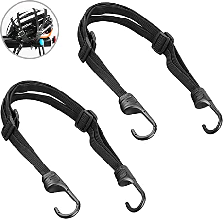 Gresunny 2pcs Bungee Straps with Hooks Elastic Bike Rack Strap Adjustable Bungee Cords Heavy Duty Luggage Strap Bungee Straps Elasticated Luggage Rope for Bicycles Motorcycle Electric Cars Black 60cm
