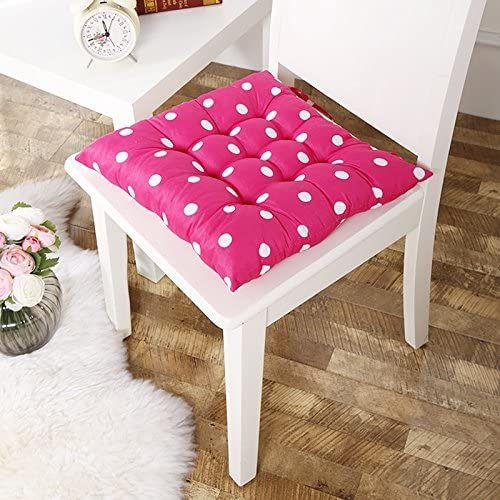 """Handmade Pale Pink Polka Dot Bird Pattern Cushion with Front Ties 12/"""" Square"""