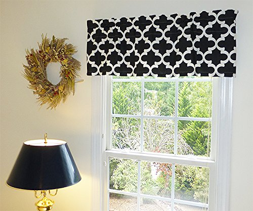 Black & White Window Curtain Valance with Ruffled Top Window Treatment Window ()