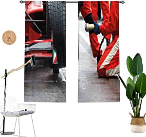 Man Cave Window Valance,Professional Racing Team at Work Pit Stop Racecar Fast Tyre Changing Short Curtain for Kitchen Bedroom Decor with Rod Pocket,2 Panel Set,W29 x L24 Each Panel