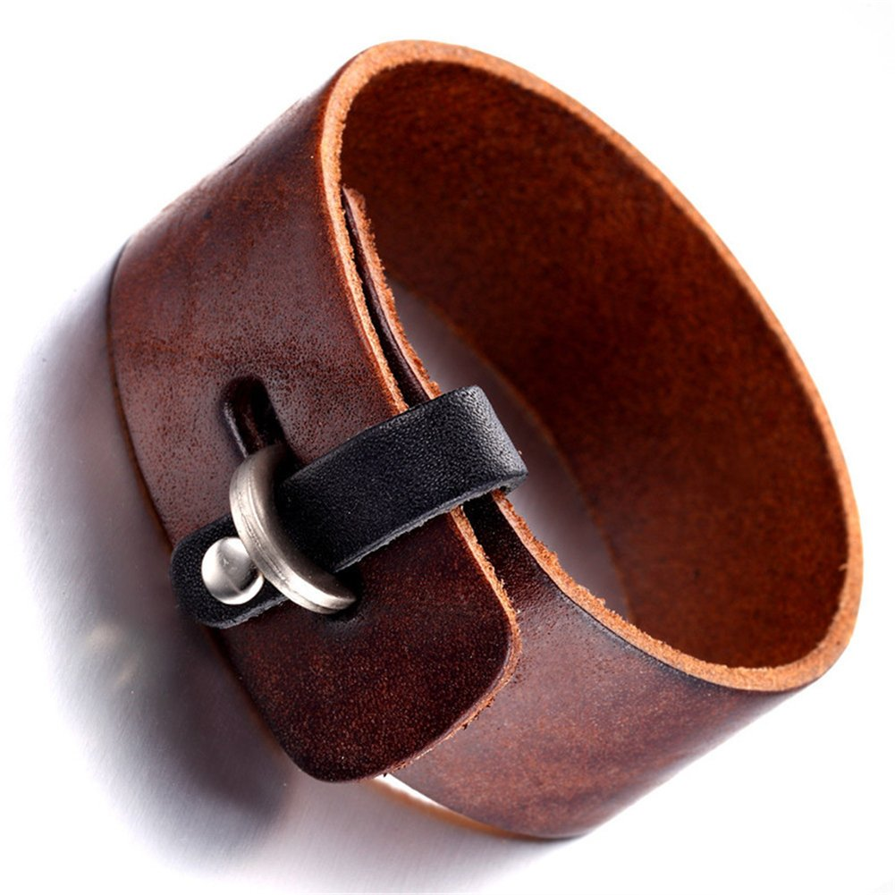 JAJAFOOK Mens Womens Rock Punk Original Wide Leather Cuff Bracelet Simple Wristband Bracelet H201753402