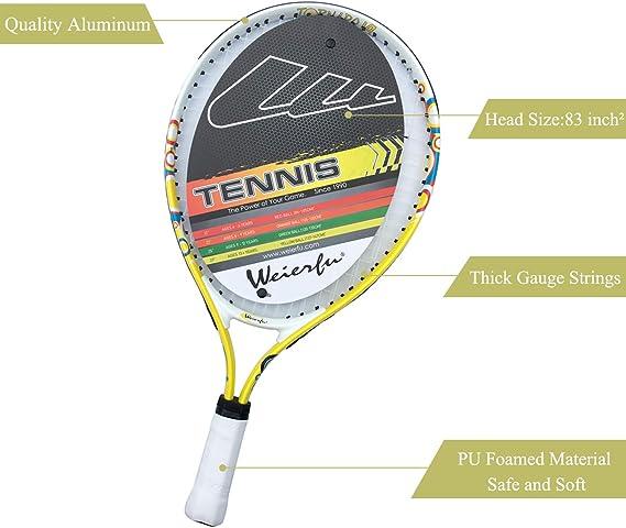 Amazon.com: Weierfu - Raqueta de tenis para niños de 17 a 21 ...