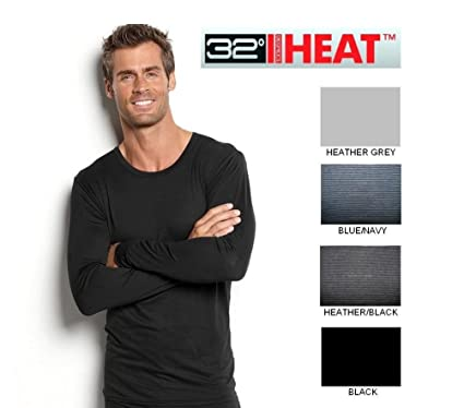 90eeec0b 32 Degrees Heat Smart Fabric Long Sleeved Crew Neck Shirt - Black (Medium)