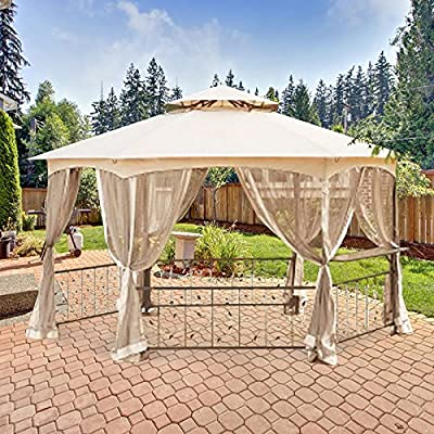 Garden Winds Hexagon Vine Gazebo Replacement Canopy - RipLock 350 : Metal Gazebo : Garden & Outdoor